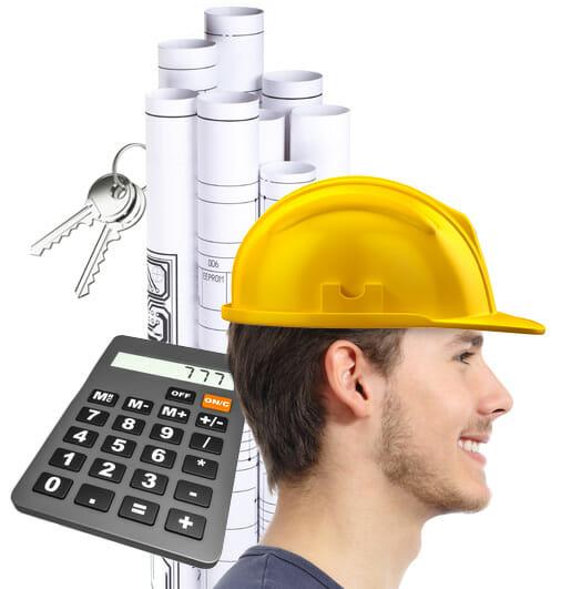 homme chantier calculatrice